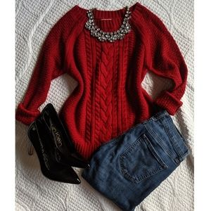 St. John's Bay Red Cable Knit Ribbed Sweater